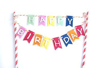 Rainbow Happy Birthday Banner Garland Birthday Cake Topper Party Decoration- Le Petit Pain