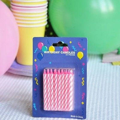 "48 Pink Candy Striped Birthday Candles 2"" Candle Stick Pink White Cake Topper - le petit pain"