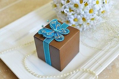 12 Rose Print Chocolate Brown Favor Boxes with Blue Gem Butterfly Ribbon