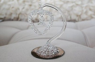 Vintage Hand Blown Glass Hanging Heart Home Decor Figurine Bronze Base