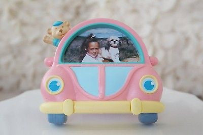 Teddy Bear in Pink Bug Car Picture Frame Children Kids Photo Frame