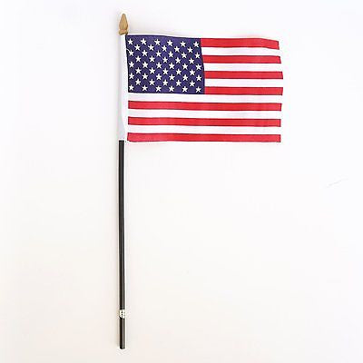 "4 USA American Flags 4""x6"" Fabric 10"" Pole Photo Prop Independence Parade"