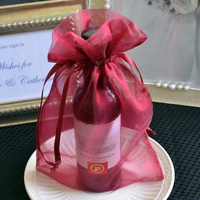 10 Large Burgundy Red Organza Favor Bags Pouches Wedding Gift Bags Drawstring - le petit pain