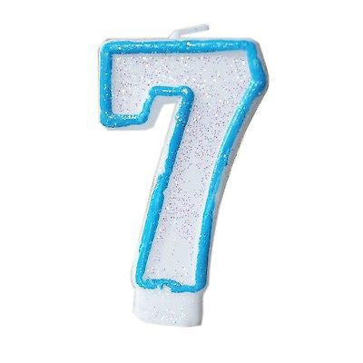 Blue Glitter Numeral 7 Number Candle White Premium 7th Birthday Cake Candle