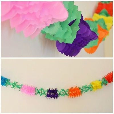Fancy Flower Multicolor Rainbow Paper Garland 12 Ft long 3D- Le Petit Pain