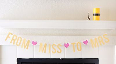 Pink and Gold From Miss to Mrs Bridal Shower Bachelorette Banner Photo Prop