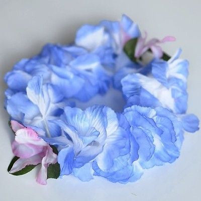 Premium Blue Hawaiian Crown Lei Headband Paradise Petunia with Orchids Boho