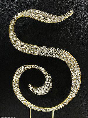 Gold Letter Initial S Birthday Crystal Rhinestone Cake Topper S Party Monogram- Le Petit Pain
