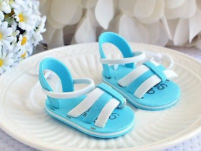 "2 Baby Shower Blue Mini Sandals EVA Boy Shoes 2.5"" Beach baby 1 pair - le petit pain"