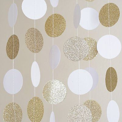 White and Gold Glitter Circle Polka Dots Paper Garland Banner 10 FT Banner- Le Petit Pain