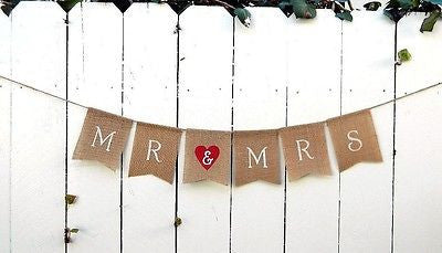 Mr and Mrs Burlap Red Heart Wedding Banner Photo Prop Rustic Flag Banner- Le Petit Pain