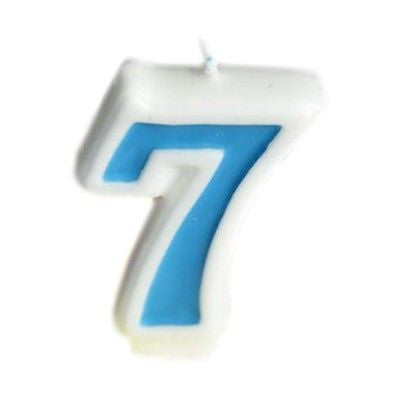 Blue Numeral 7 Number Candle White Premium Birthday Candle