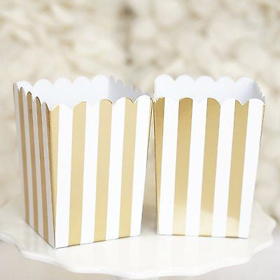 10 Gold and White Stripes Popcorn Favor Boxes Bridal Baby Shower to Pop - le petit pain