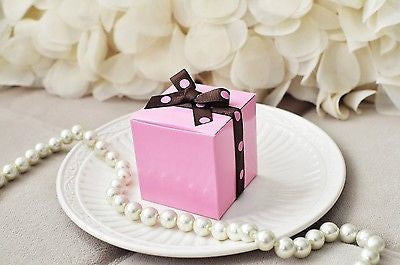 "10 Pink Party Favor Boxes with Polka Dot Ribbon  2"" Wedding Baby Shower - le petit pain"