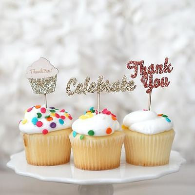 12 Glitter Thank You Celebrate Cupcake Picks Birthday Wedding Baby Shower Topper - le petit pain