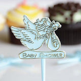20 Count Blue Stork Baby Cake Cupcake Pick Baby Shower Pick Boy Gender Reveal - le petit pain