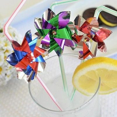 8 Assorted Colors Double Foil Pinwheel Straws Windmill Drinking Straw - le petit pain