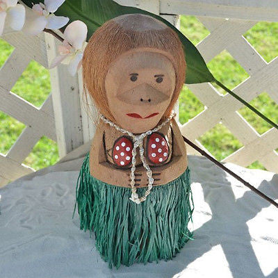 Coconut Monkey Mama with Shell Necklace Figurine for Luau Hawaiian Party Decor