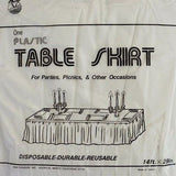 "Premium Plastic White Table Skirt 29"" x 14"" Reusable"