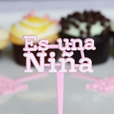 12 Pink Es Una Nina Cupcake Picks for Baby Shower Its a girl - le petit pain