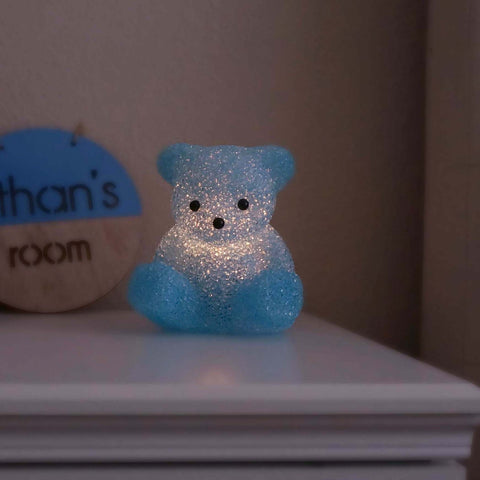 Vintage Light Up Blue Teddy Bear Boys Room Lamp
