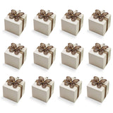 20 Rose Print Ivory White Favor Boxes with Brown Gem Butterfly Ribbon