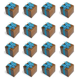 20 Rose Print Chocolate Brown Favor Boxes with Blue Gem Butterfly Ribbon