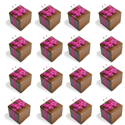 20 Rose Print Brown Favor Boxes with Magenta Gem Butterfly Ribbon