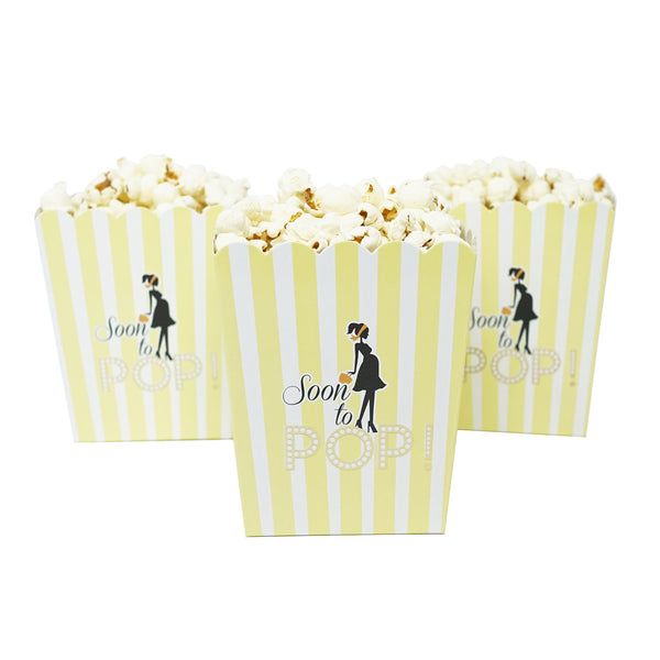 Soon To Pop Yellow Baby Shower Popcorn Favor Box-Set of 20- Le Petit Pain