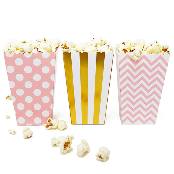 36 Pink Gold Polka Dot Stripe Chevron Mini Popcorn Candy Party Favor Boxes - le petit pain
