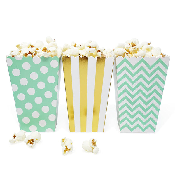36 Mint Gold Polka Dot Stripe Chevron Mini Popcorn Candy Party Favor Boxes - le petit pain