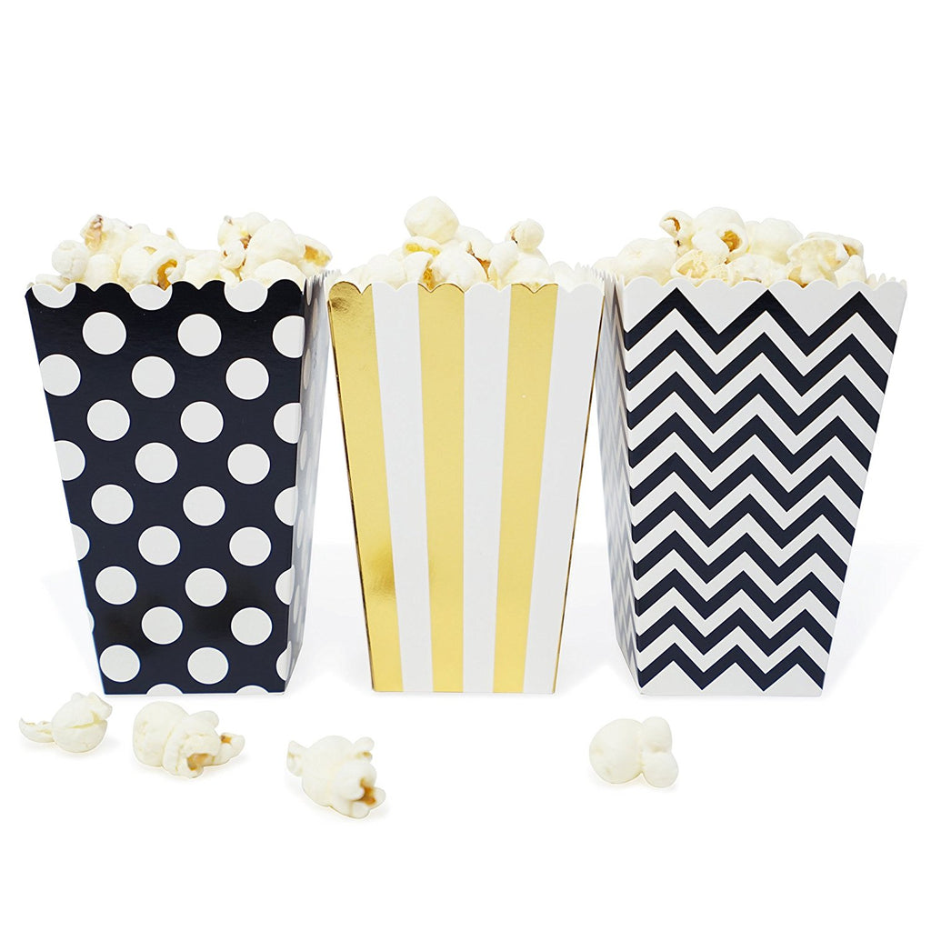 36 Black and Gold Polka Dot Stripe Chevron Mini Popcorn Candy Party ...