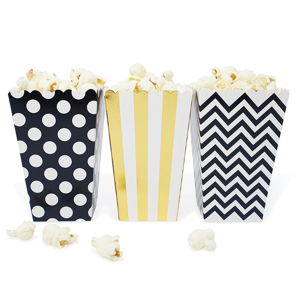 36 Black and Gold Polka Dot Stripe Chevron Mini Popcorn Candy Party Favor Boxes - le petit pain