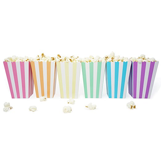 36 Unicorn Pastel Rainbow Stripe Mini Popcorn Candy Party Favor Boxes - le petit pain