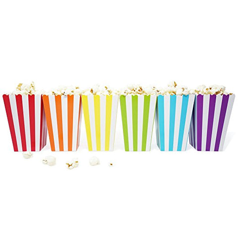 36 Rainbow Stripe Mini Popcorn Candy Carnival Birthday Party Favor Boxes - le petit pain