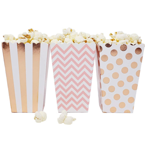 36 Rose Gold Pink White Polka Dot Stripe Chevron Mini Popcorn Party Favor Boxes