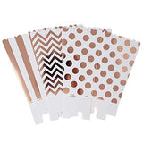 36 Rose Gold White Polka Dot Stripe Chevron Mini Popcorn Party Favor Boxes