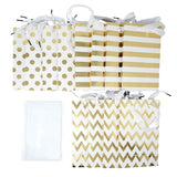 12 Gold Foil Paper Gift Bags with Tissue Paper Satin Ribbon Handles