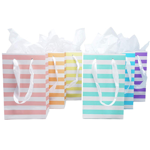 12 Unicorn Pastel Rainbow Paper Gift Bags with Tissue Paper Satin Ribbon Handles