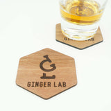 Custom Modern Hexagon Wooden Coasters Company Logo Design Your Design Drink Coasters Set of 6- Le Petit Pain