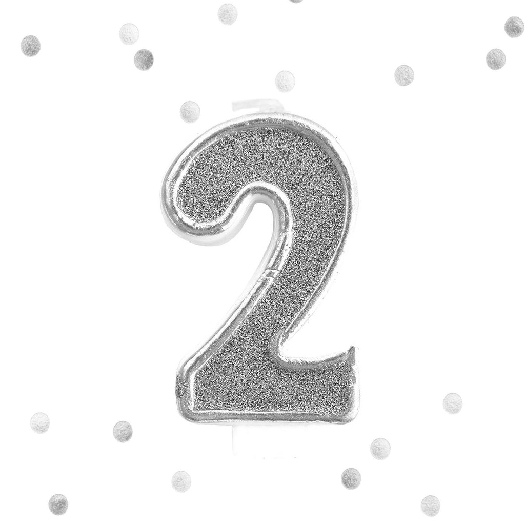 Silver Glitter 2nd Birthday Candle Number 2 White Two Cake Topper