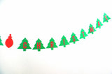 Merry Christmas Banner Christmas Tree and Ornament Red and Green Holiday Decoration
