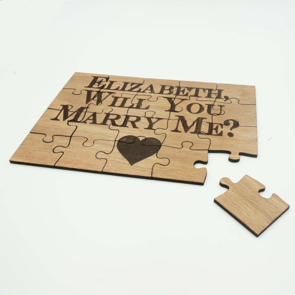Unique Personalized Wood Jigsaw Puzzle Wedding Engagement Proposal Will You Marry Me 20 Piece 5x7- Le Petit Pain