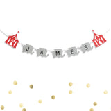 Circus Banner Red Tent and Elephant Animal Carnival Custom Personalized Name Banner- Le Petit Pain