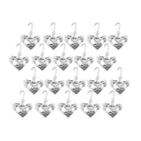 20 Love Birds Doves Heart Wedding Favor Silver Charms Decoration Gift tags