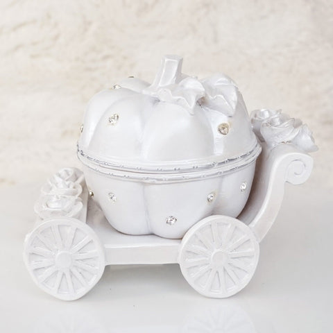 Cinderella Pumpkin Coach White and Rhinestone Jewelry Box Wedding Decor Topper- Le Petit Pain