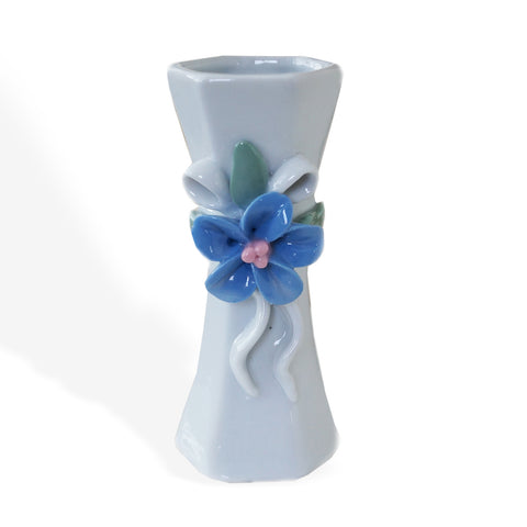 Small Off White Ceramic Flower Ribbon Vase Vintage