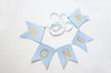 Baby Blue Gold Glitter One High Chair Banner First Birthday Party Decoration - le petit pain