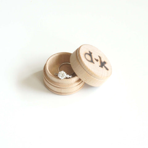Custom Personalized Engagement Ring Initials Names Wedding Ring Wooden Engraved Jewelry Box