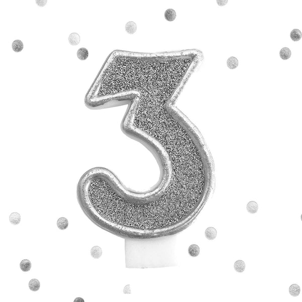 Silver Glitter 3rd Birthday Candle Number 3 Silver Three Number Cake Topper
